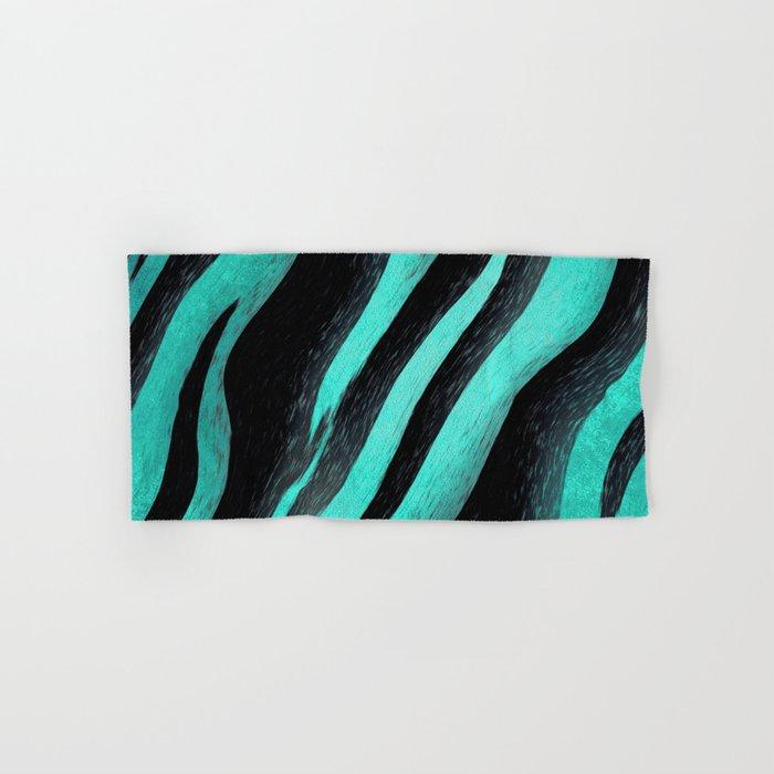 Cyan Zebra Hand & Bath Towel