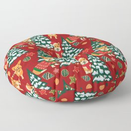 Corgis decorate the christmas tree - red pattern Floor Pillow