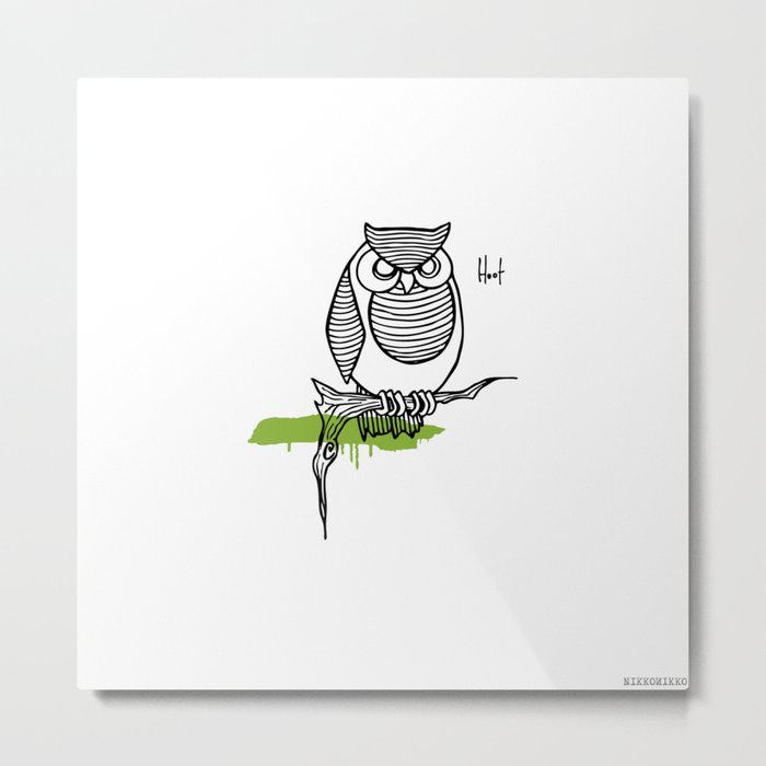 Line Owl 4 Metal Print