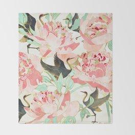 Floral Cranes Throw Blanket