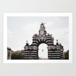 Black & White Striped Archway Art Print