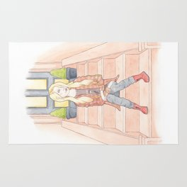 Sam, a 90s Grunge Music Fan in a Flannel Shirt, Band T-shirt, DM Boots Watercolor Illustration Rug