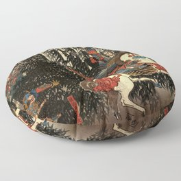 War in 1100's in Japan Floor Pillow
