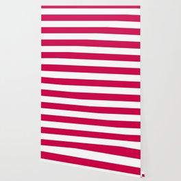 Spanish carmine - solid color - white stripes pattern Wallpaper