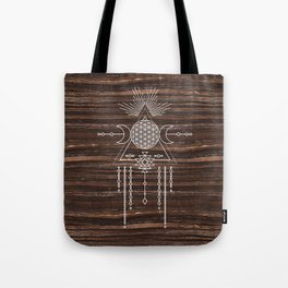 Triple Goddess - Flower of Life - Moon Phase - Shaman - Tribal - Sri Yantra - Brown Marble - Wood - Tote Bag