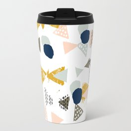 Minimal modern color palette navy gold abstract art painted dots pattern Travel Mug