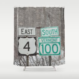 Vermont Street Signs Shower Curtain