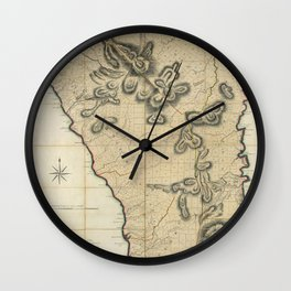 Map Of Dominica 1775 Wall Clock