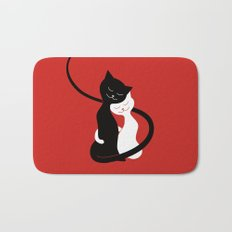White And Black Cats In Love (red) Bath Mat
