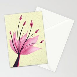 Pink Abstract Water Lily Flower Stationery Cards