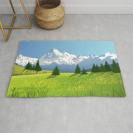 Countryside Landscape With Mountains Rug