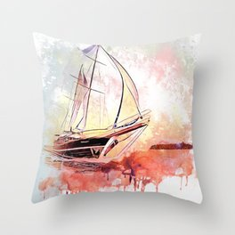 Boat  Red Throw Pillow