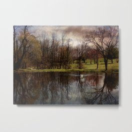 Greeted by the Swan Metal Print