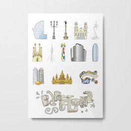 Barcelona with significant buildings Metal Print