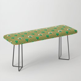 retro sixties inspired fan pattern in green and orange Bench