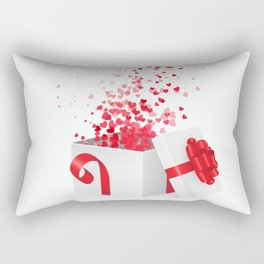 Opening gift box for Valentines day Rectangular Pillow