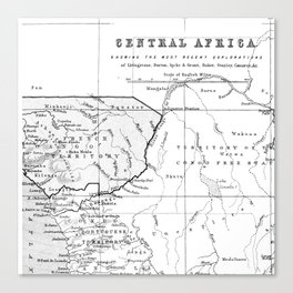 Black And White Vintage Map Of Africa Canvas Print