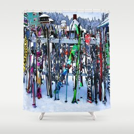 Ski Party - Skis and Poles Shower Curtain