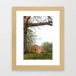 Cross by a Rock Framed Art Print