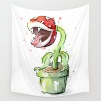 plant Wall Tapestries featuring Piranha Plant Art by Olechka