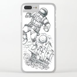 Astronaut Tethered to Caravel Tattoo Clear iPhone Case