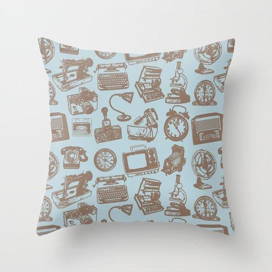 blue vintage pattern Throw Pillow