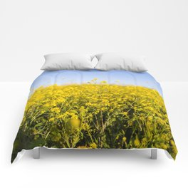 Bright yellow spring flowers pattern blue sky photography Comforters