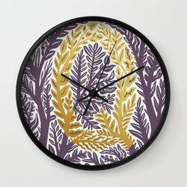 Botanical Metallic Monogram - Letter Q Wall Clock