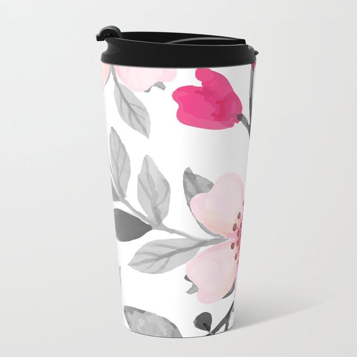 FLOWERS WATERCOLOR 11 Metal Travel Mug