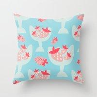 dessert Throw Pillows featuring Strawberry Dessert by Rachel Gresham