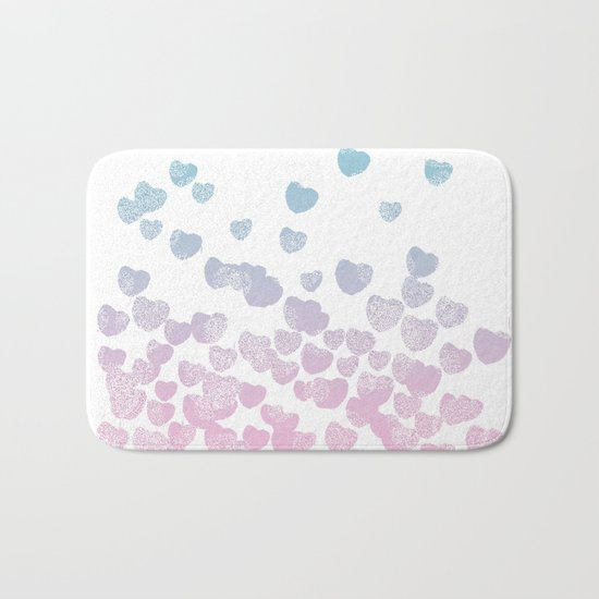 Hearts falling ombre blue and pastel pink cotton candy wonderland Bath Mat