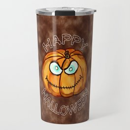 Happy Halloween Menacing Pumpkin Travel Mug