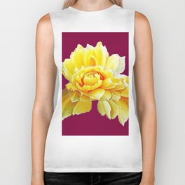 Burgundy Color Yellow Rose Flower Art Design Pattern Abstract Art Garden Biker Tank