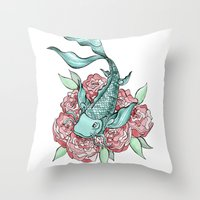 koi fish Throw Pillows featuring Koi Fish by Bare Wolfe