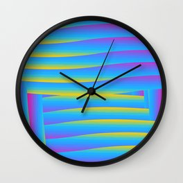 Pansexual Pride Layered Overlapping Rectangular Stripes Wall Clock