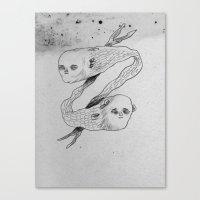 mermaids Canvas Prints featuring mermaids by Julio Dolbeth