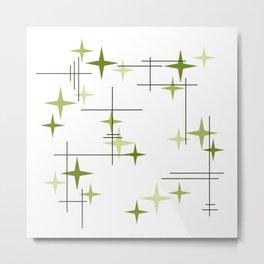 Mid Century Modern Stars Chartreuse Green Metal Print