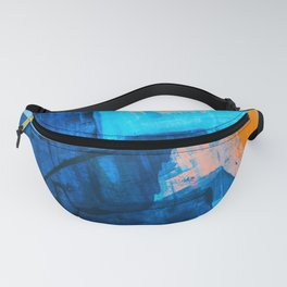 Seaside: a vibrant abstract painting in blue pink and orange by Alyssa Hamilton Art  Fanny Pack