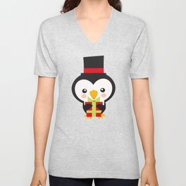 Christmas Penguins Tophat and Present Unisex V-Neck