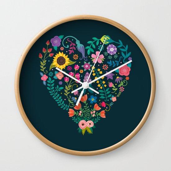 Floral Heart Wall Clock
