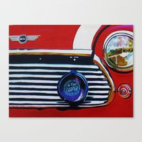 mini cooper Canvas Prints featuring mini cooper by shirley davies