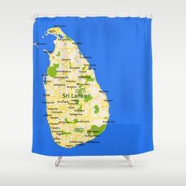 Sri Lanka Map Design Shower Curtain