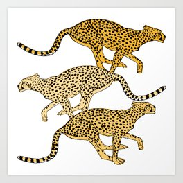 Go Cheetahs Go Pen and Ink by Lorloves Design Art Print
