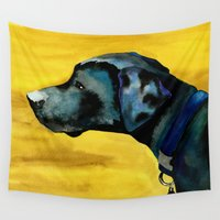 lab Wall Tapestries featuring Black Lab Watercolor by Maria Oglesby Art