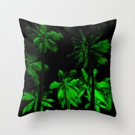 Night green palm trees Throw Pillow