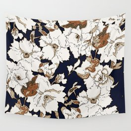 Navy, Rust, White Woodcut Peony Floral Print Wall Tapestry