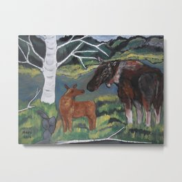 New Born Moose calf Metal Print