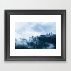 Fog rolling over the Mountains in Nature Forest (Rain-forest, Washington, British Columbia, Seattle) Framed Art Print