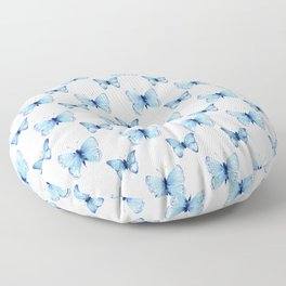 Blue Butterflies Pattern Butterfly Watercolor Floor Pillow