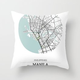 Manila Philippines City Map with GPS Coordinates Throw Pillow